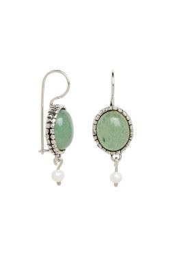 Aventurine & Pearl Dangle Earrings | Sterling Silver Earrings