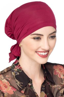 Easy On Pre Tied Head Scarf in Bordeaux | Cardani Bamboo Viscose Ready Tie Scarves Luxury Bamboo - Bordeaux
