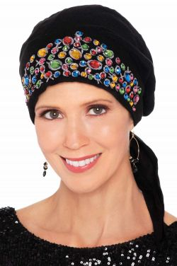Embroidered Hand Sewn Beading - Easy To Tie (E-T-T) Scarf Cap