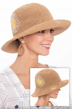 Embroidered Daisy Sun Hat | Sun Hats for Women
