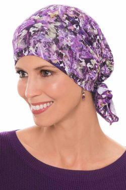Easy On Pre Tied Head Scarf | Cardani Bamboo Viscose Ready Tie Scarves Enchanted Garden - Purple