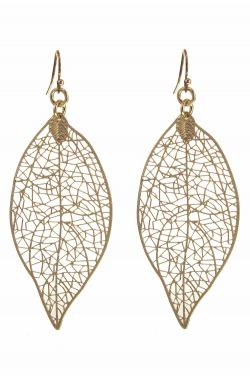 Gold Plated Etched Leaf Earrings | Gold Plated and Hypoallergenic