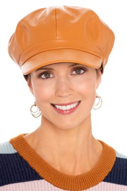 Faux Leather Newsboy Cap | Newsboy Caps for Women