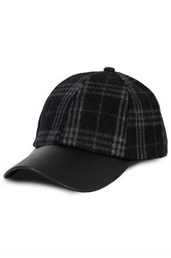 Faux Leather Brim Plaid Baseball Cap | Baseball Caps for Women