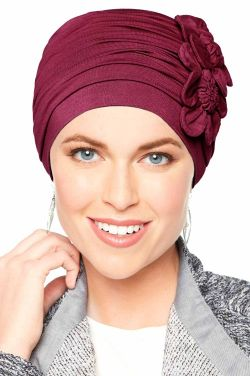 Flapper Turban in Bordeaux | Vintage Flapper Hat in Soft Viscose from Bamboo by Cardani Luxury Bamboo - Bordeaux