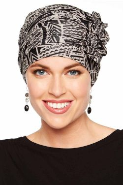 Flapper Turban in  | Vintage Flapper Hat in Soft Viscose from Bamboo by Cardani | Neutral Tribal |