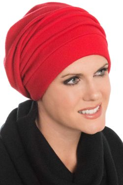 Fleece Chamois Slouchy Cap in Christmas Red | Snood Head Covering