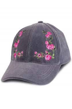 Floral Embroidered Velvet Baseball Cap | Baseball Caps for Women