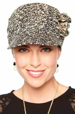 Florette Newsboy Hat in Luxury Bamboo by Cardani® Luxury Bamboo - Mini Mosaic Black/Beige