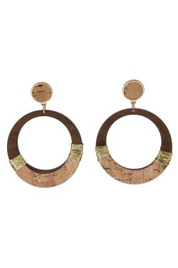 Genevieve Wood and Gold Loop Earrings | Natural and Hypoallergenic
