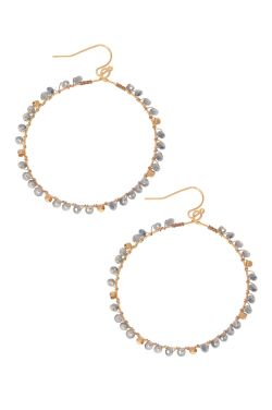 Gold & Sky Blue Beaded Hoop Earrings | Nickel Free & Hypoallergenic Earrings