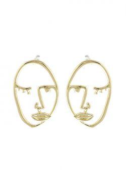 Gold Winking Face Stud Earrings | Hypoallergenic & Nickel Free Earrings