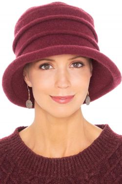 Wool Joanna Brimmed Hat in Wine | Wool Winter Hats for Women