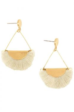 Gold and Ivory Fringe Post Earrings | Hypoallergenic and Nickel Free |
