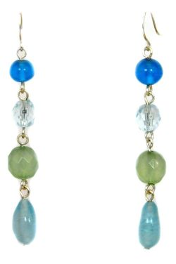 Ocean Glass Rhodium Dangle Earrings | Hypoallergenic and Nickel Free