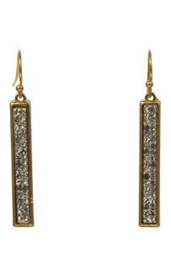 Gold-Plated Crystal Bar Earrings | Gold-Plated with Swarovski Crystals |
