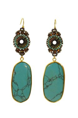 Artisan Turquoise Earrings | Gold-Plated with an Intricately Beaded Design |