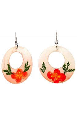 Mother-of-Pearl Floral Hoop Earrings | Hypoallergenic and Nickel Free