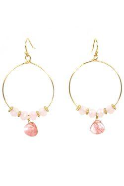 Natural Stone Beaded Loop Earrings   Organic Stone Hoop Earrings