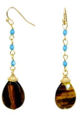 Tiger's Eye and Turquoise Beaded Earrings | Natural Stones and Nickel Free