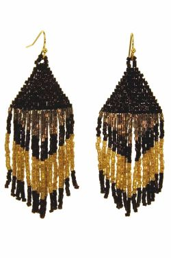 Seed Bead Boho Fringe Earrings | Hypoallergenic Statement Earrings |