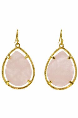 Rose Quartz Stone Drop Earrings | Gold-Shaded Frame and Nickel Free |