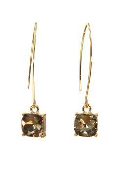 Light Colorado Topaz Drop Earrings | Gold Plated Surgical Steel Earrings