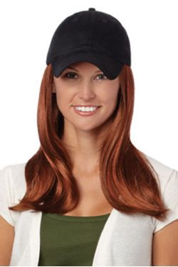 Baseball Cap with Hair: 8227 Long Hat Black