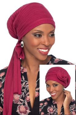 Knitted Head Wrap | Pure Cotton Long Tail Head Covering | Bordeaux Knitted
