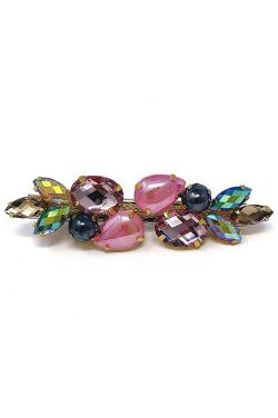 Multi Rhinestone & Pearl Barrette | Embellished Hair & Scarf Accessory |