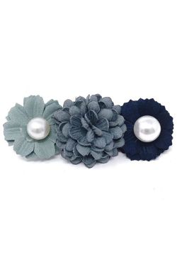 Flower & Pearl Barrette | Embellished Hair & Scarf Accessory |