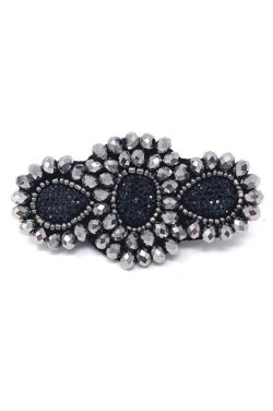 Hematite Bead Barrette | Embellished Hair & Scarf Accessory |