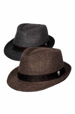 Men's Wool Blend Herringbone Fedora | Mens Wool Hats
