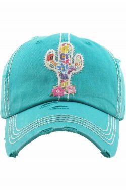 Summer Cactus Cap | Distressed Baseball Cap for Women