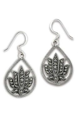 Sterling Silver Earrings | Lotus Marcasite Dangle Earring