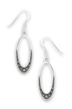 Marcasite Ovals | Sterling Silver Earrings |