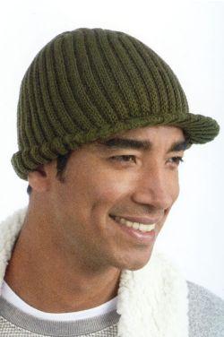 Mens Brimmed Knit Beanie Cap