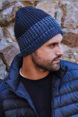 Men's Two Tone Knit Beanie with Fleece Lining   Beanies for Guys