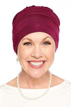 Meridian Beanie Cap & Volumizer Turban in Bordeaux | Cardani® Viscose from Bamboo Hat Luxury Bamboo - Bordeaux