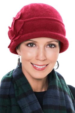 Wool Mina Flower Cloche Hat in Red | Fall & Winter Hats for Women