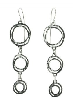 Sterling Silver Earrings | Oxidized Multi Hoop Dangle Statement Earrings