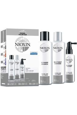 Nioxin System 1 Kit for Natural Hair with Light Thinning | Hair Thickening Shampoo, Conditioner, and Treatment |