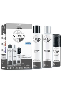 Nioxin System 2 Kit for Natural, Progressed Thinning Hair | Hair Thickening Shampoo, Conditioner, and Treatment |