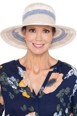 Ocean Blue Ribbon Sun Hat   Packable Summer Hat for Women