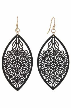 Ornate Etched Leaf Earrings | Hypoallergenic and Nickel Free