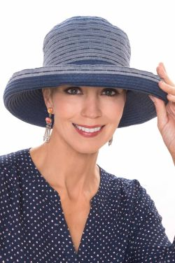 Packable Rory Denim Ribbon Braid Sun Hat | UPF 50+