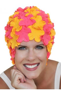Last Call | Retro Petal Swim Cap | Vintage Flower Bathing Cap | Swimming Hat by Sync