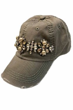 Pearl & Crystal Distressed Baseball Cap