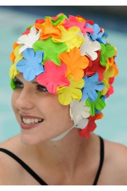 Petal Swim Cap with Chin Strap