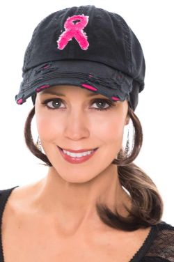 Vintage Pink Ribbon Distressed Baseball Cap | Baseball Caps for Women